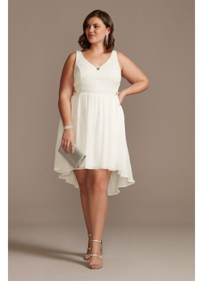 Lace and Chiffon High Low Plus Size Mini - With a floaty high-low hem and crochet lace