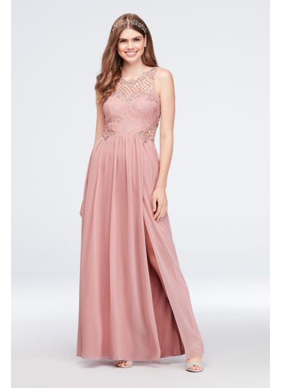 Lace and Chiffon Gown with Geometric Neckline - Crystal-topped geometric crochet creates a net-like detail at
