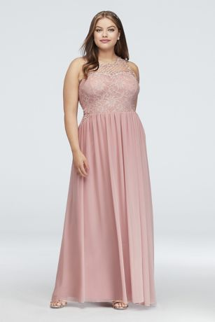 Lace and Chiffon Plus Size Gown with Geo Neckline | David\'s Bridal