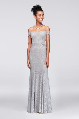 Lace Off The Shoulder Gown With Beaded Sides Davids Bridal