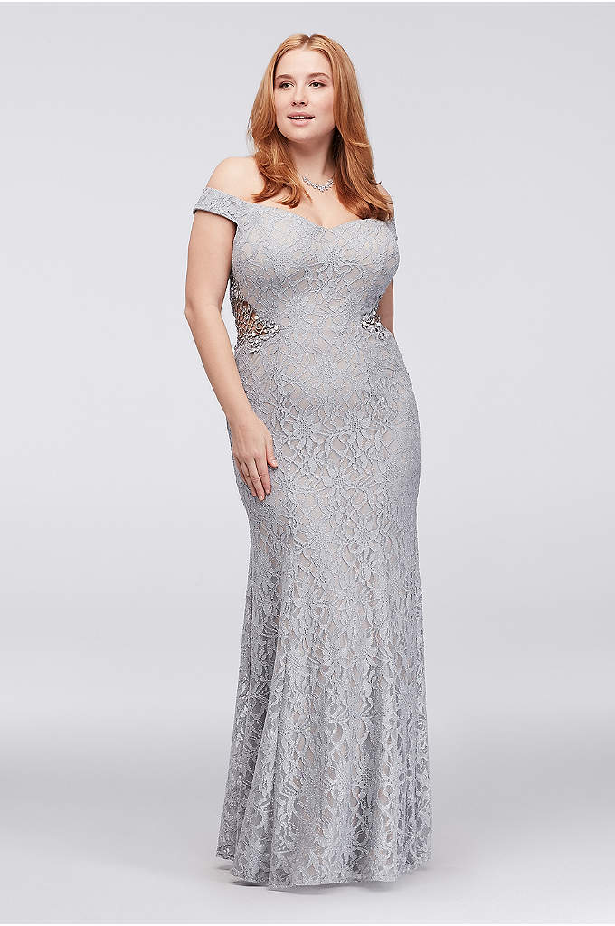 Off-The-Shoulder Plus Size Gown with Beaded Sides - Crystal- and pearl-topped geometric crochet creates intriguing detail