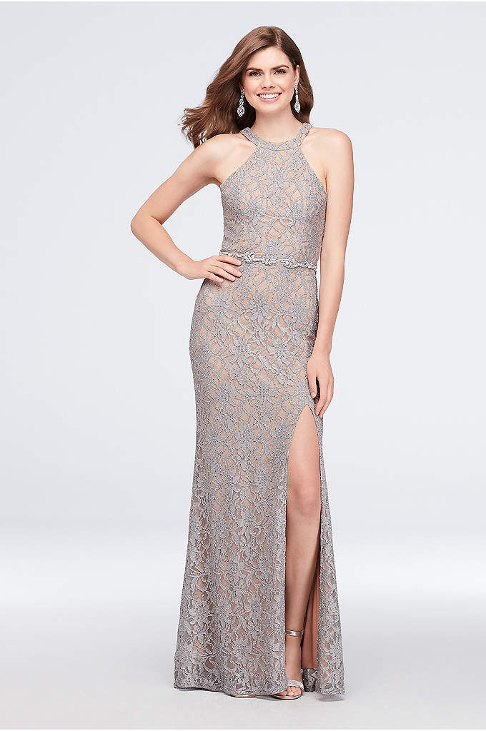 Glitter Lace Halter Sheath Gown with Beaded Belt - Shimmering metallic glitter lace gets a sparkly assist