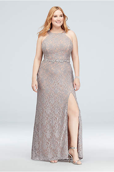 Glitter Lace Plus Size Gown with Beaded Belt