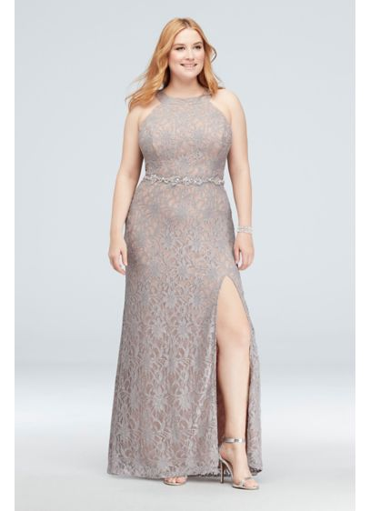 Glitter Lace Plus Size Gown with Beaded Belt - Shimmering metallic glitter lace gets a sparkly assist