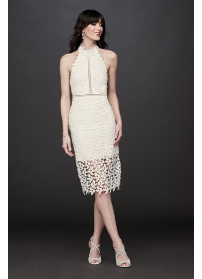 High-Neck Halter Lace Short Dress with Illusion - Covered in tulip lace, this casual-cool high-neck dress