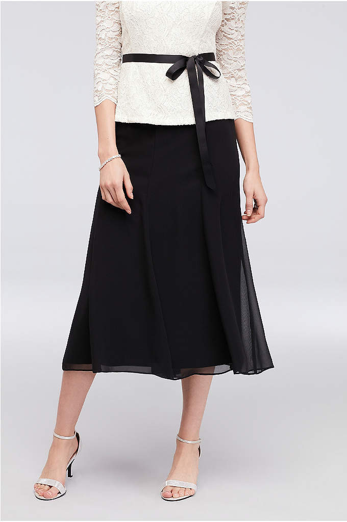 Chiffon Midi A-Line Skirt with Picot Trim - This figure-flattering chiffon A-line midi skirt pairs beautifully