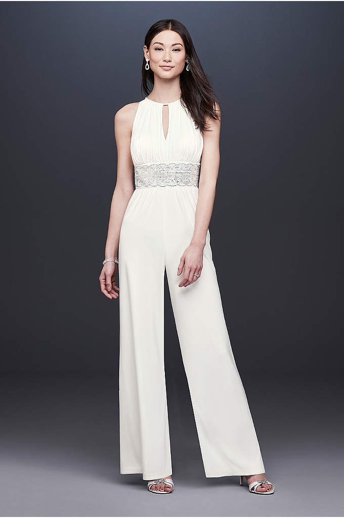 Beaded Jersey Halter Wedding Jumpsuit with Keyhole - Crafted of drapey, ultra-comfortable jersey, this wedding jumpsuit