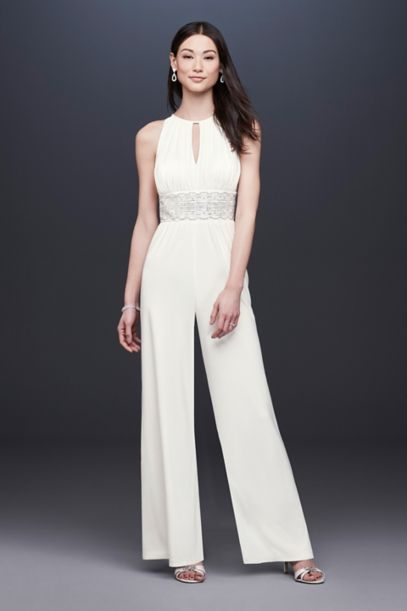 Beaded Jersey Halter Wedding Jumpsuit With Keyhole Davids Bridal