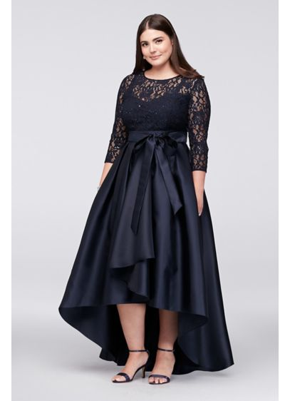 Lace Bodice Plus-Size High-Low Ball Gown