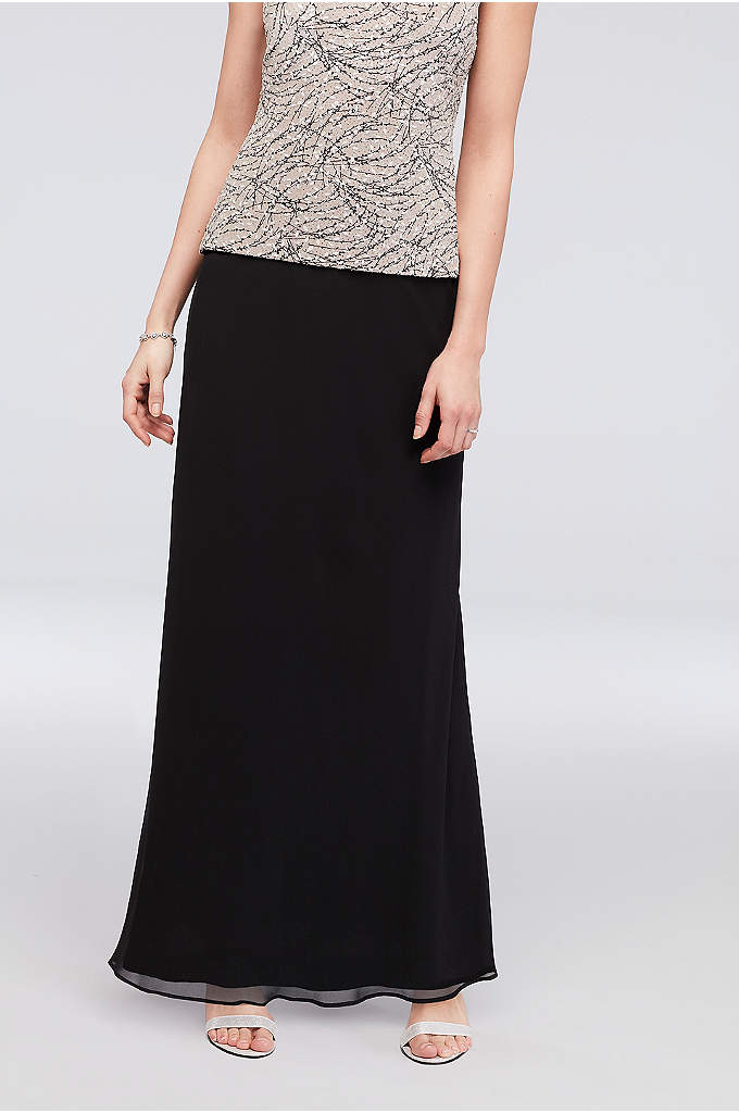 Long Chiffon Skirt with Picot Trim - This long, flowy chiffon skirt will become an