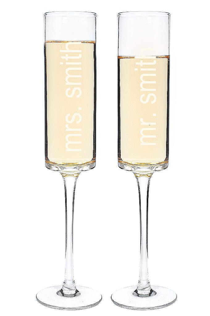 Personalized Contemporary Toasting Flute Set
