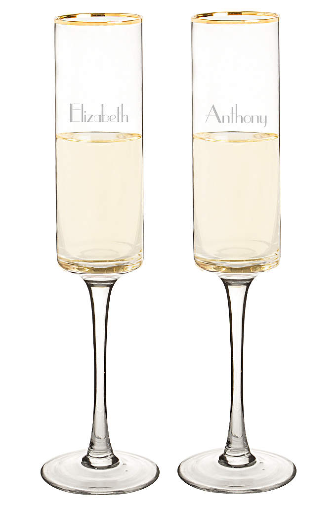 Personalized Gold Rim Contemporary Flute Set of 2 - The Personalized 8-ounce Gold Rim Contemporary Champagne Flutes