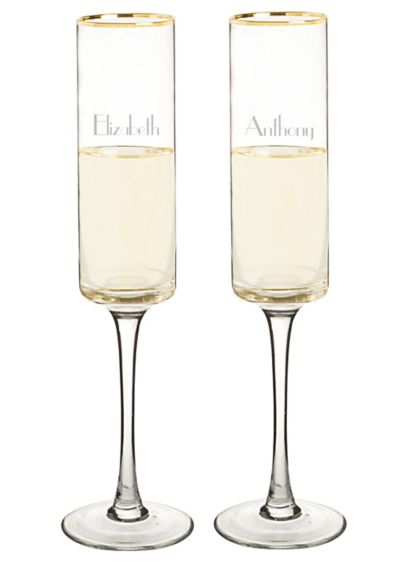 Personalized Gold Rim Contemporary Flute Set of 2 - Wedding Gifts & Decorations