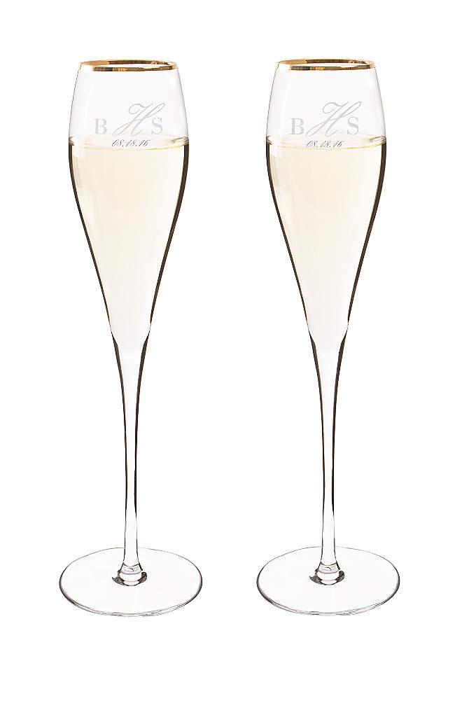 Personalized Rimmed Champagne Flutes Set of 2 - The Personalized Rimmed Champagne Flutes feature an elegant