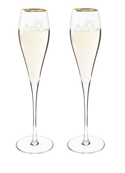 Personalized Rimmed Champagne Flutes Set of 2 - The Personalized Rimmed Champagne Flutes feature an elegant