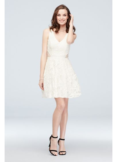 Embroidered Deep-V A-Line Dress with Waist Cutouts - Cute and charming, this A-line tank dress is