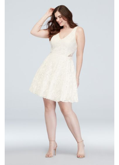 Embroidered A-Line Plus Size Dress with Cutout - Cute and charming, this plus-size A-line tank dress