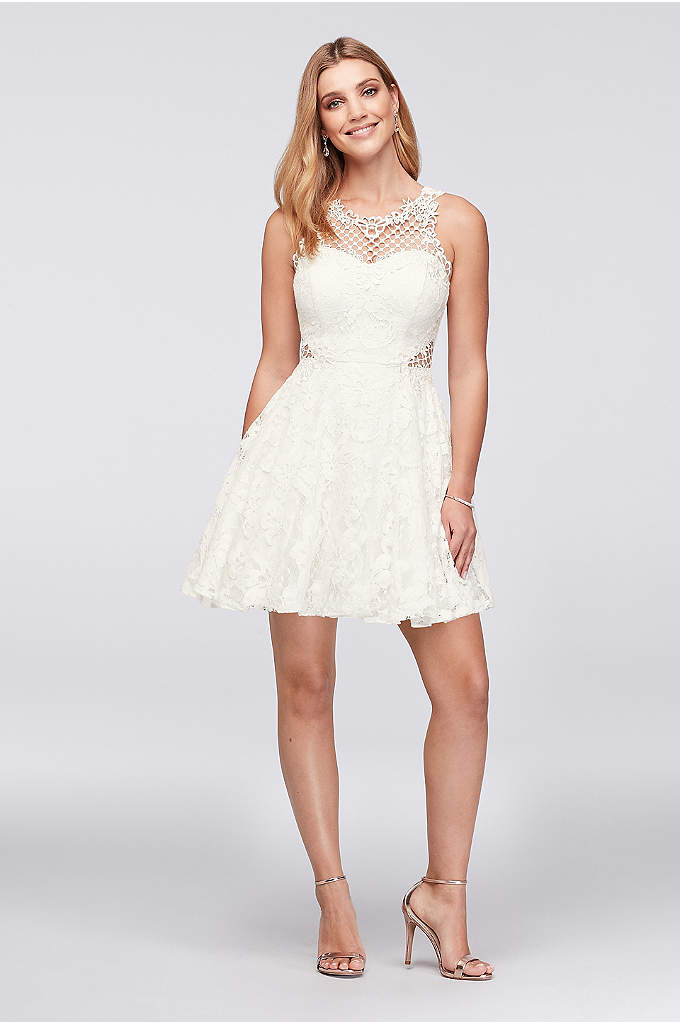 Lace Fit-and-Flare Dress with Geometric Neckline - Geometric crochet creates a net-like detail at the