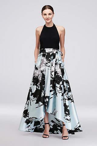 Vestido Asimétrico con Falda de Estampado Floral