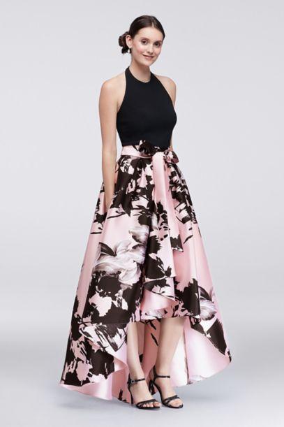 High Low Dress With Printed Mikado Skirt Davids Bridal