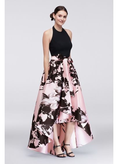 High Low Dress With Printed Mikado Skirt Davids Bridal