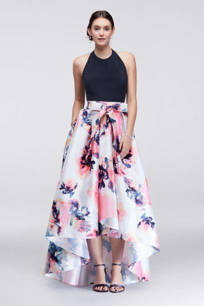 High Low Halter Dress With Printed Skirt Davids Bridal