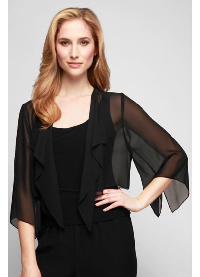 Open-Front Short Chiffon Bolero with Hanky Hem - Adorned with a hanky hem and drapey three-quarter