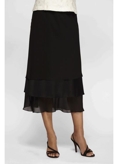 Satin and Chiffon Triple-Tier Midi Skirt - This easy A-line midi skirt features three tiers