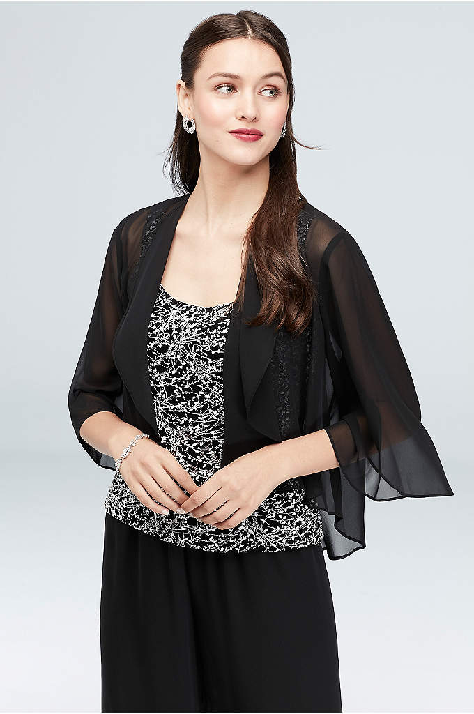 Cascade-Collar Chiffon Bolero Jacket - Top your dress with this air-light chiffon bolero