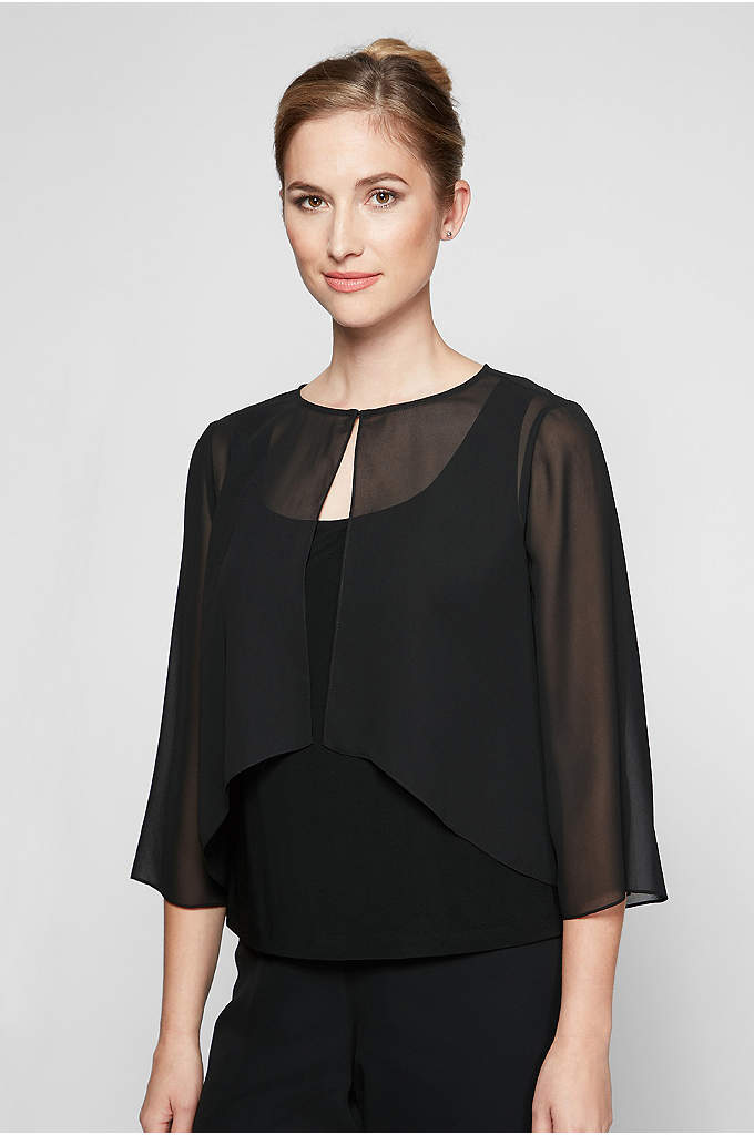 High-Low Chiffon Cover Up with Split Sleeves - Top your dress with this air-light chiffon capelet.
