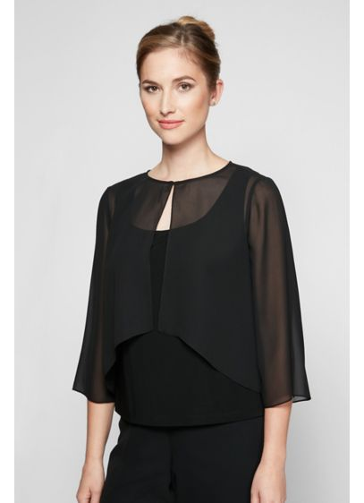 Alex Evenings Black (High-Low Chiffon Cover Up with Split Sleeves)