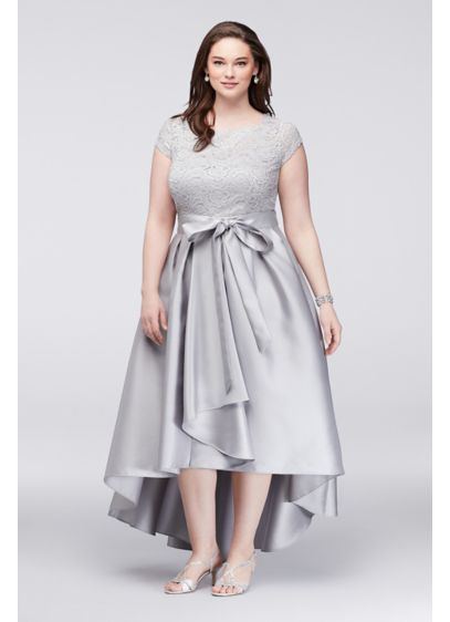 Off The Shoulder Lace And Mikado Plus Size Dress Davids Bridal