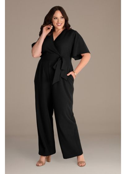 Long Jumpsuit Short Sleeves Cocktail and Party Dress - Kiyonna