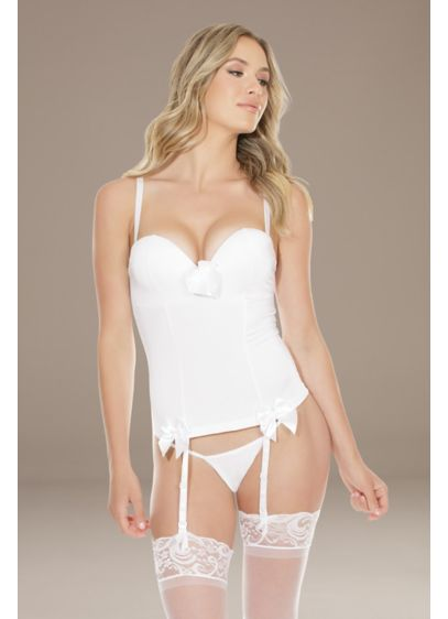 Coquette Stretch Knit Cami with Built-In Bra - This cami's removable straps, garters, and bows allow