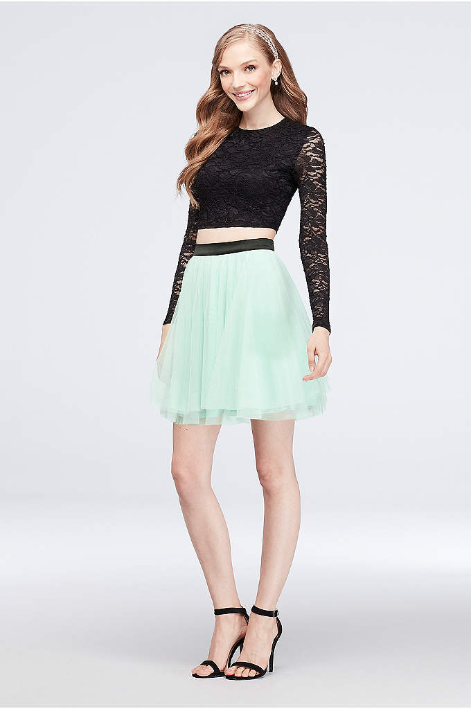 Lace Long Sleeve Top and Mesh Skirt Set - Two pieces equals twice the fun. After you
