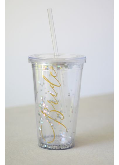 Glittery Bride Tumbler with Straw - Sip your favorite drink from this glittery tumbler,