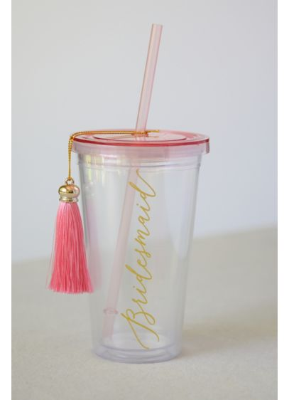Bridesmaid Tumbler with Straw and Tassel - Adorned with a pretty pink tassel, this tumbler