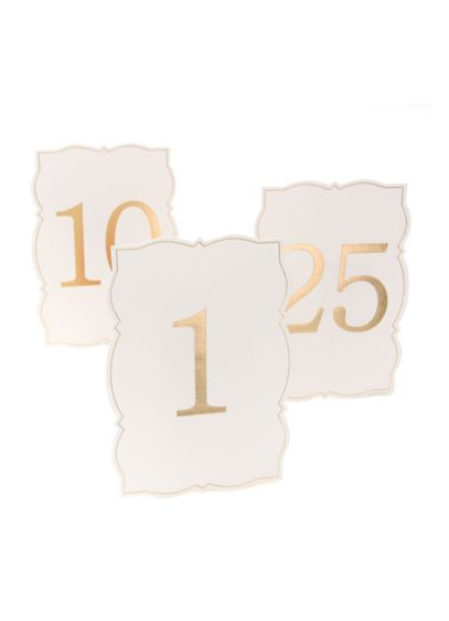 Ornate Edge Gold Foil Table Numbers - Gleaming gold foil and an ornate edge add