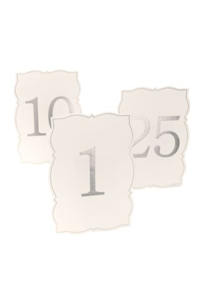 Ornate Edge Silver Foil Table Numbers - Gleaming silver foil and a sculpted edge adds