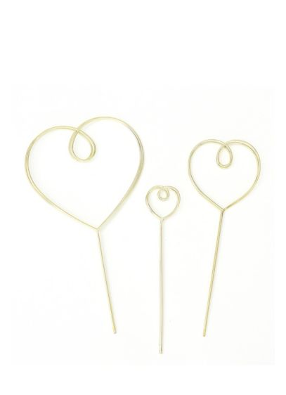 Gold Wire Heart Cake Topper Set - This set of three golden heart cake toppers