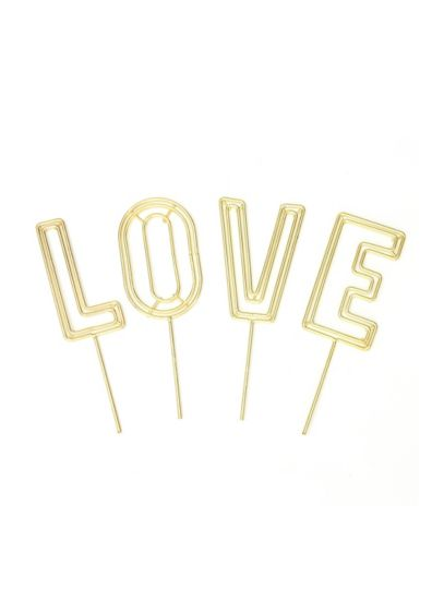 Love Wire Cake Topper Set - Featuring four gold letters that form the word