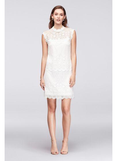 Lace Mix High-Neck Shift Dress - The perfect dress for summer party season, this