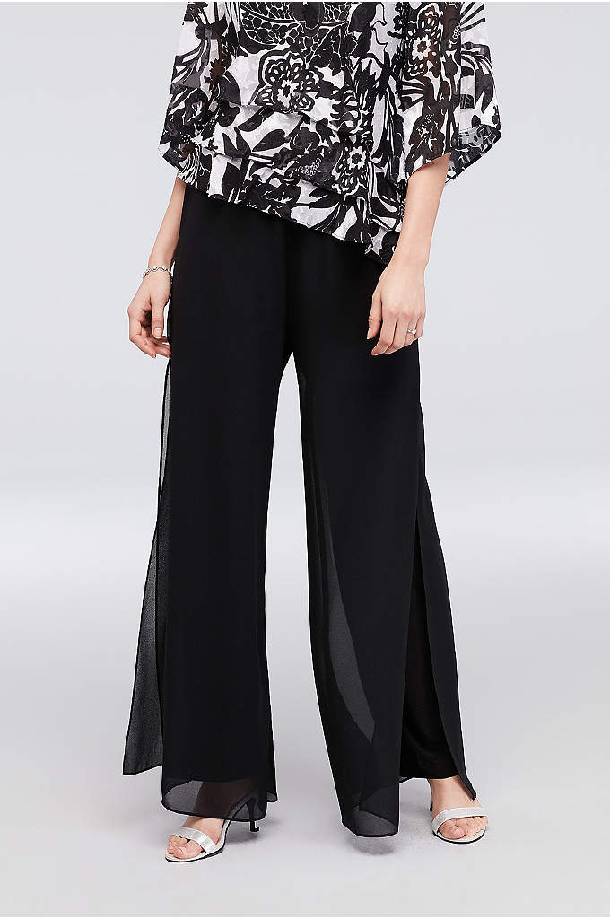 Wide-Leg Chiffon Pants with Side Slits - A flowy, drapey pair of wide-leg chiffon pants,
