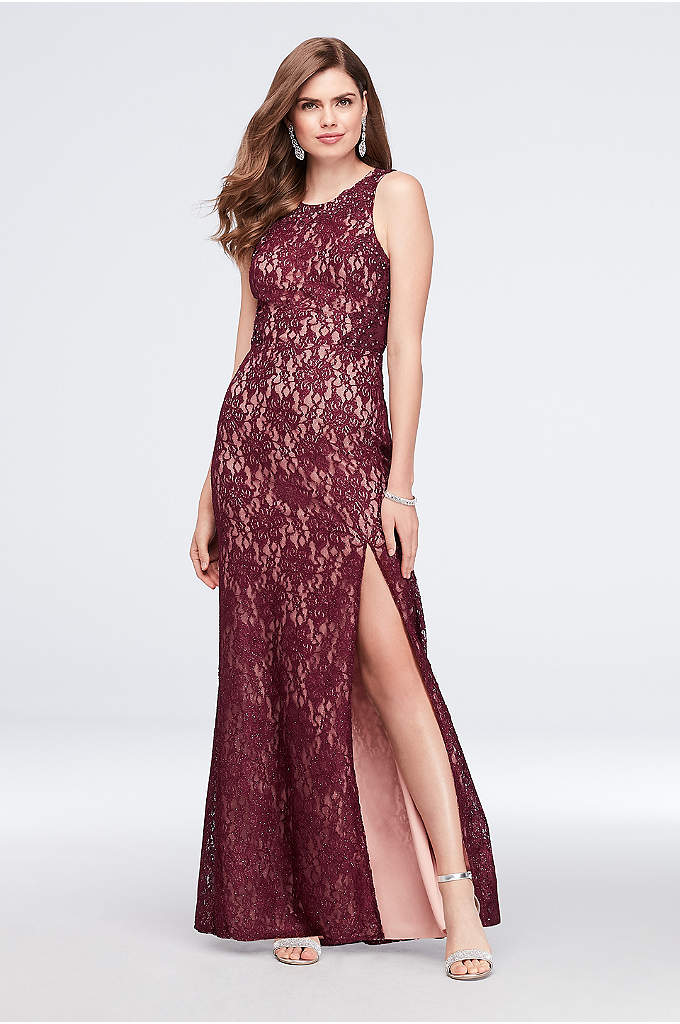 Glitter Lace Sleeveless Gown with Beaded Sides - Crystal beading creates intriguing detail at the sides