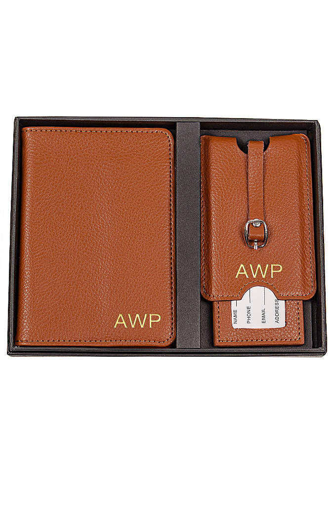 Personalized Leather Passportand Luggage Tag Set - The Personalized Leather Passport Holder and Luggage Tag