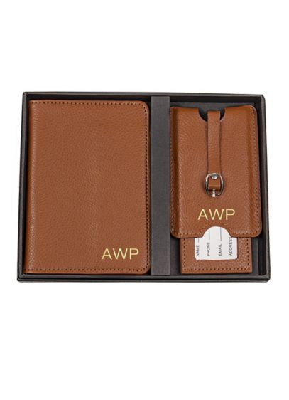 Brown (Personalized Leather Passport  and Luggage Tag Set)