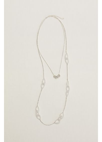 Mesh and Pave Loop Necklace - Wedding Accessories