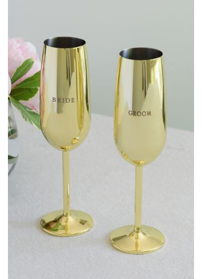 Bride and Groom Golden Toasting Flute Set - The perfect gift for the happy couple, this