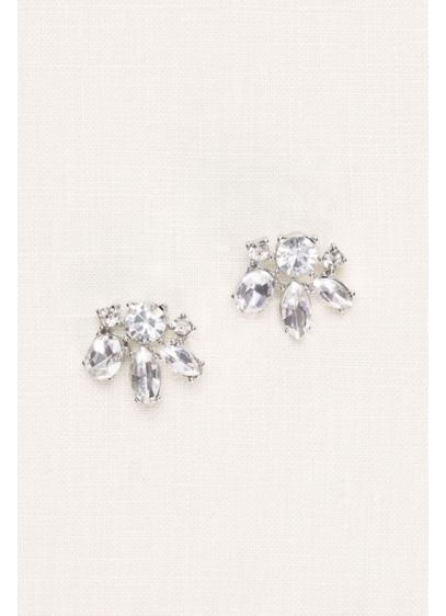 David's Bridal Grey (Crystal Cluster Statement Stud Earrings)