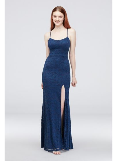 Lace Spaghetti Strap Sheath Gown with Tie Back - This simple silhouette is anything but ordinary: the